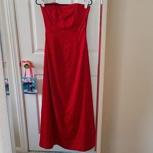 Jessica McClintock Strapless Red Gown Size…